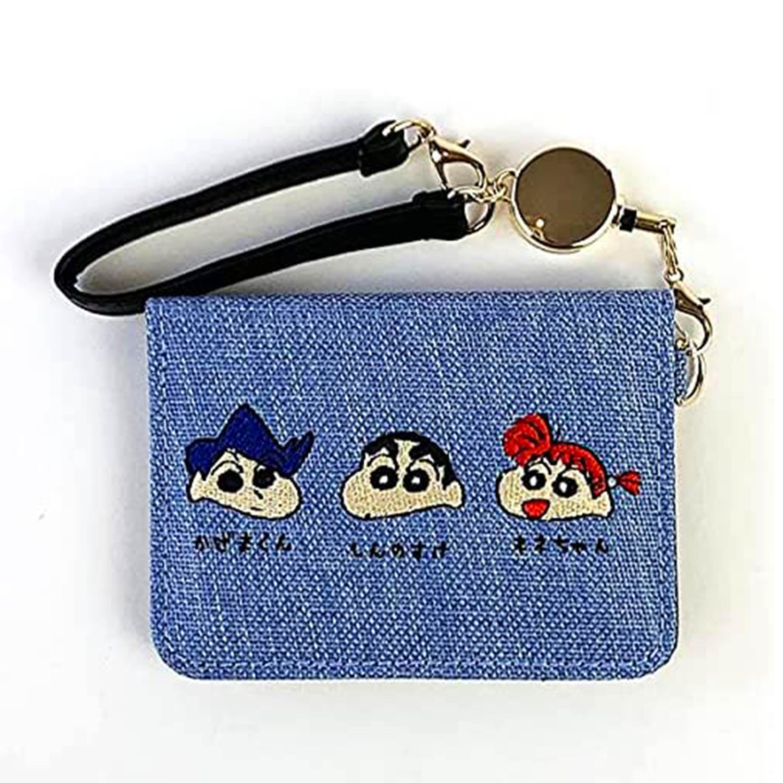 刺繡帆布伸縮票卡夾-好朋友 童趣 蠟筆小新 Crayon Shin-chan COCOART 日本進口正版授權