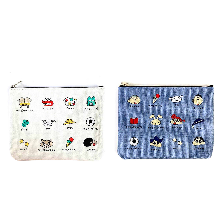 刺繡帆布扁平袋-好朋友 玩具 童趣 蠟筆小新 Crayon Shin-chan COCOART  日本進口正版授權