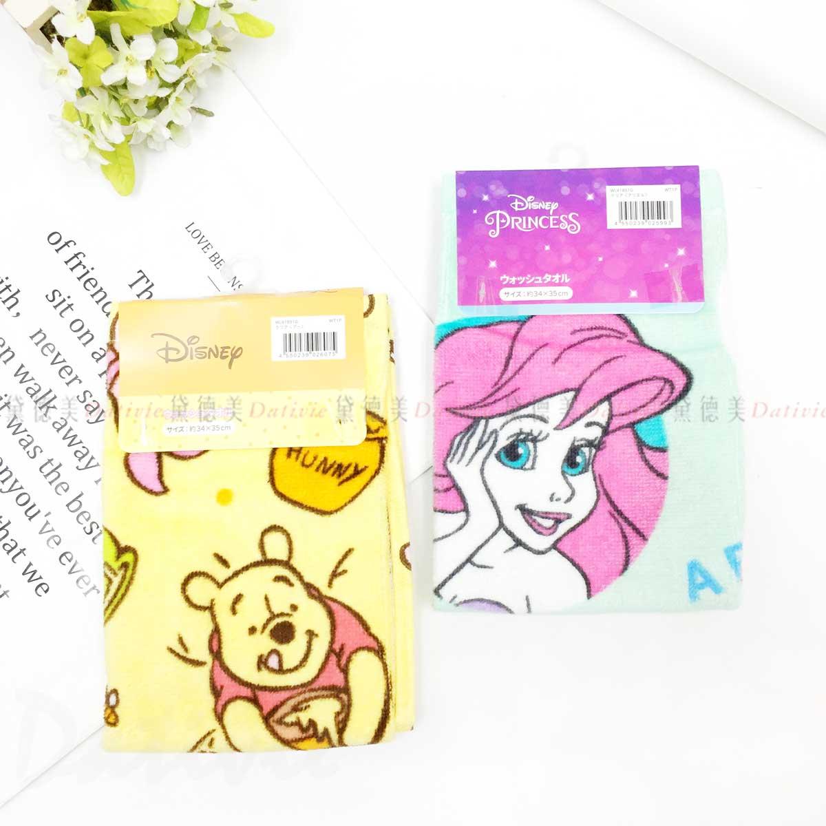 純棉方巾 34x35cm-史迪奇 美人魚 小熊維尼 迪士尼 DISNEY 日本進口正版授權