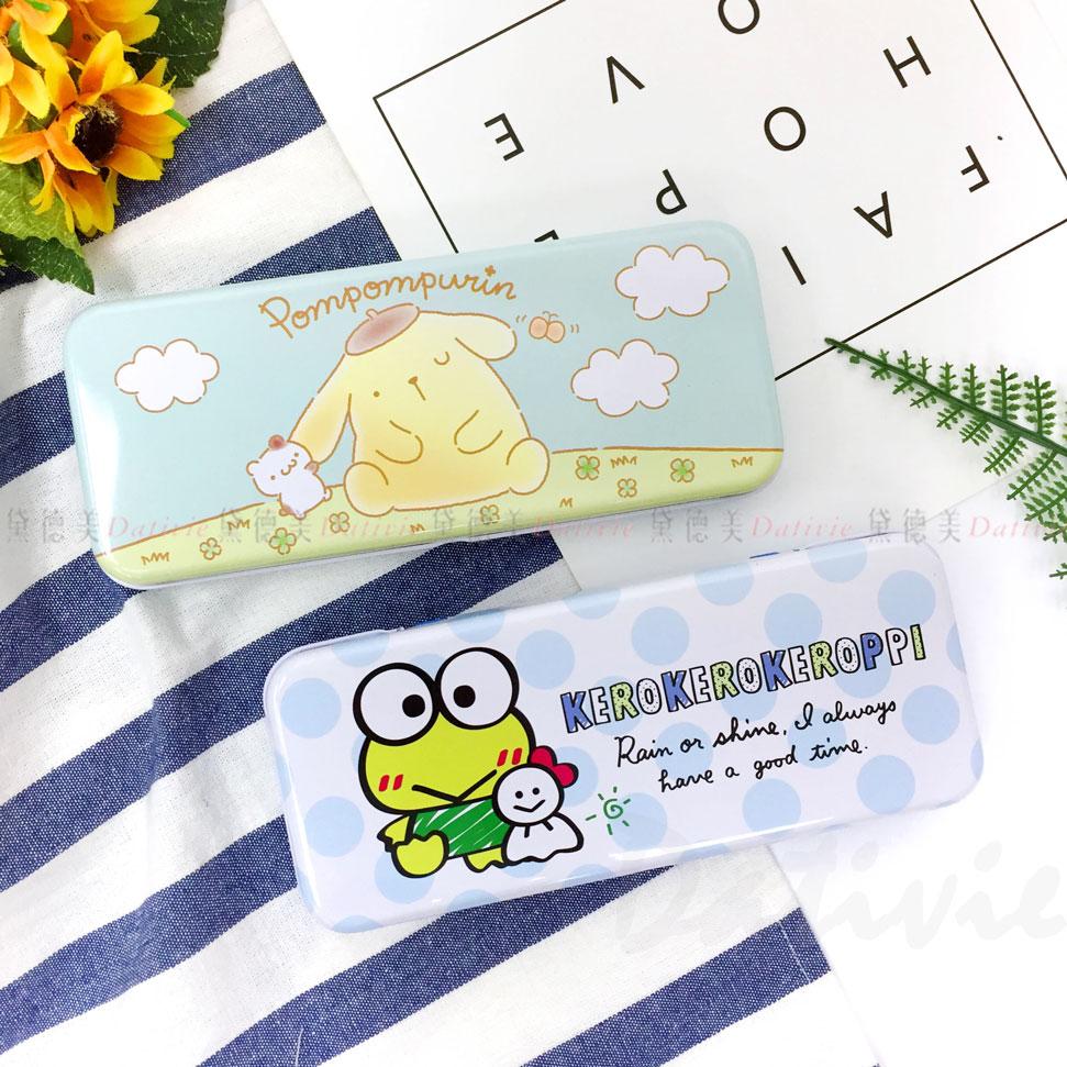 三麗鷗 寬雙層筆盒 鐵筆盒 布丁狗 大眼蛙 兩款 正版授權