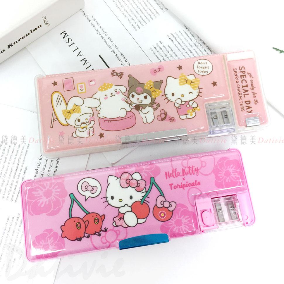 三麗鷗 輕便三開筆盒 附削筆機 Hello kitty 兩款 正版授權