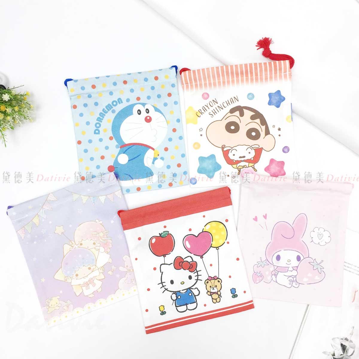 純棉小束口袋 XS-哆啦A夢 蠟筆小新 雙子星 凱蒂貓 美樂蒂 三麗鷗 Sanrio 日本進口正版授權