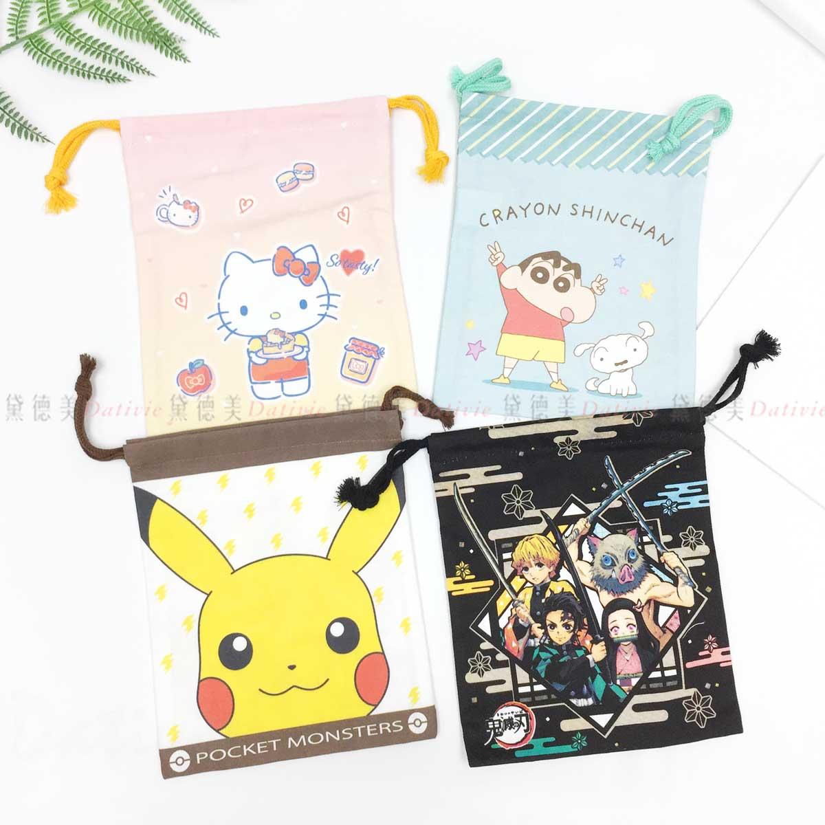 純棉小束口袋 S-凱蒂貓 蠟筆小新 皮卡丘 鬼滅之刃 三麗鷗 Sanrio 日本進口正版授權