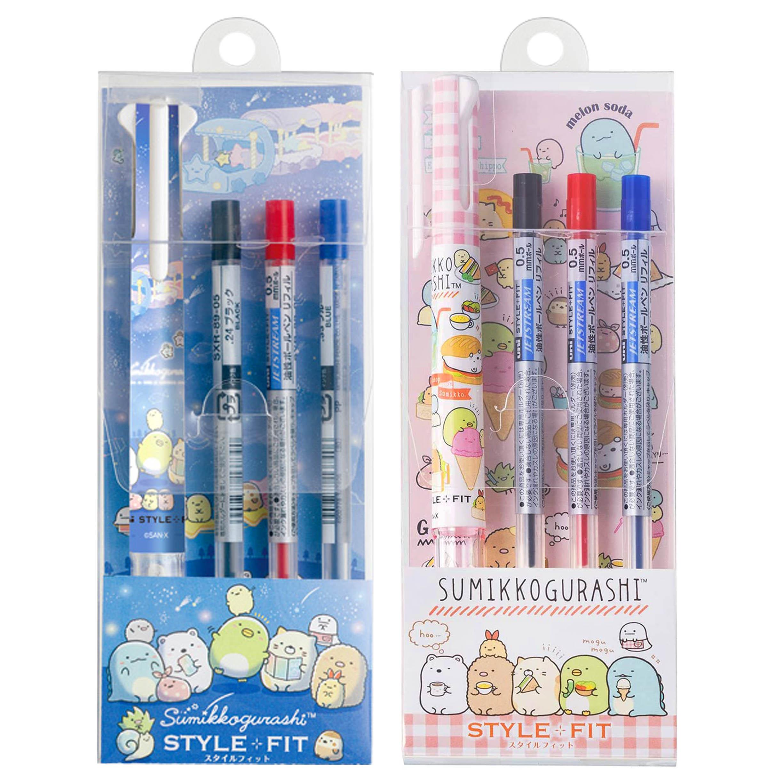 三色自動原子筆-0.5 紅白格紋 藍色星空 星空系列 角落生物 sumikko gurashi san-x 日本進口正版授權