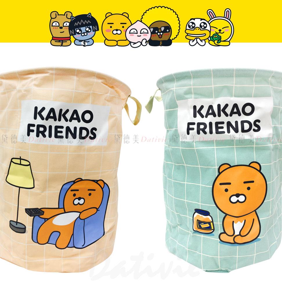 Kakao Friends 棉麻聚酯收納籃 兩色 正版授權