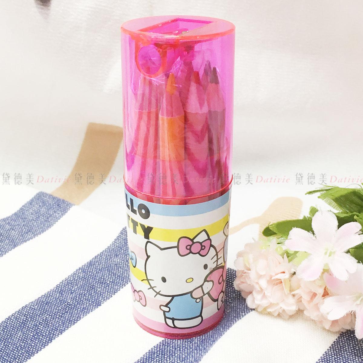 三麗鷗 Hello kitty 12色短木頭色鉛筆 桶裝 正版授權