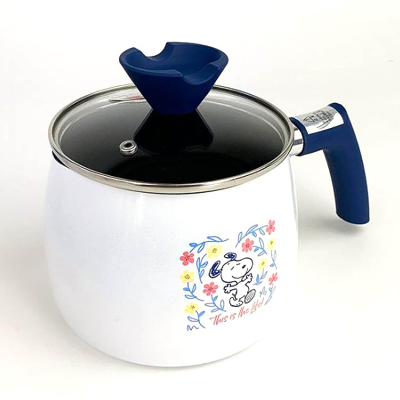 單柄琺瑯不鏽鋼鍋 2.5L-史努比 SNOOPY PEANUTS 日本進口正版授權