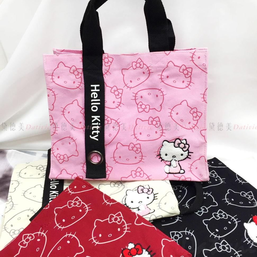 Hello kitty 三麗鷗 滿版kitty 立體繡方型提袋 四色 正版授權