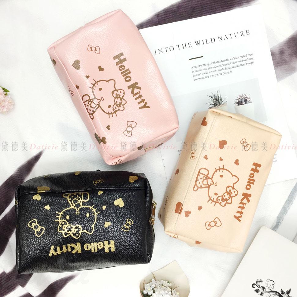 Hello kitty 三麗鷗 荔枝皮萬用包 化妝包 三色 正版授權