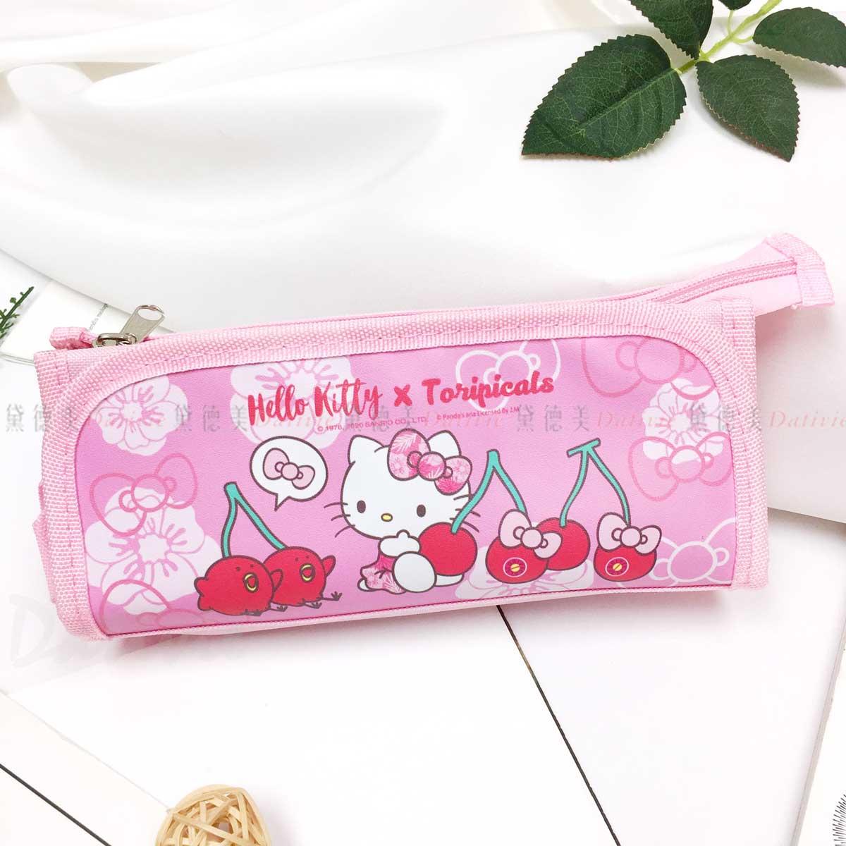 摺疊帆布筆袋-凱蒂貓 HELLO KITTY 三麗鷗 Sanrio 正版授權