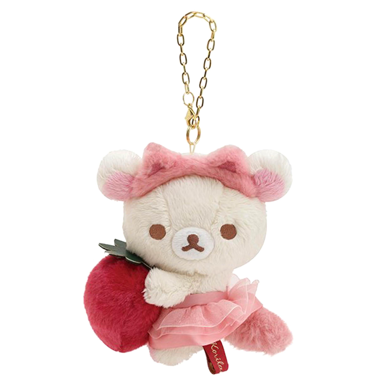 絨毛娃娃吊飾-拉拉熊 Rilakkuma Korilakkuma To Strawberry Cat SAN-X  日本進口正版授權