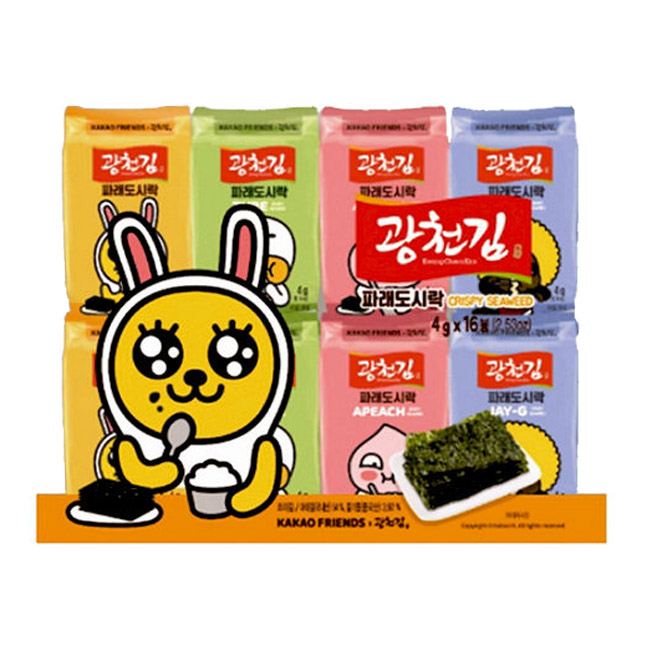 KAKAO FRIENDS 青海苔 韓國 零食 全素 4gx16入/64g 韓國製造進口