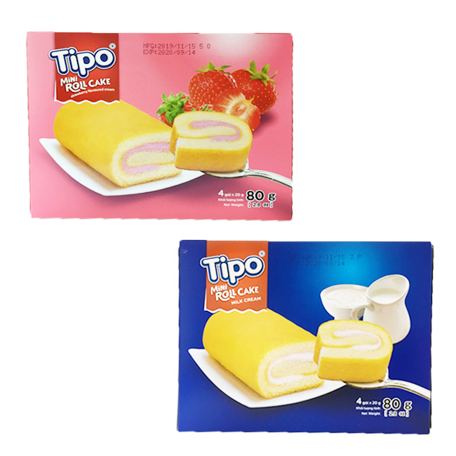 TIPO 瑞士捲 草莓 牛奶 蛋糕 零食 80g 越南製造進口