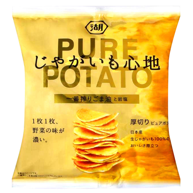 洋芋片-芝麻油風味 りごま油 じゃがいも と岩塩 PURE POTATO 日本製造進口