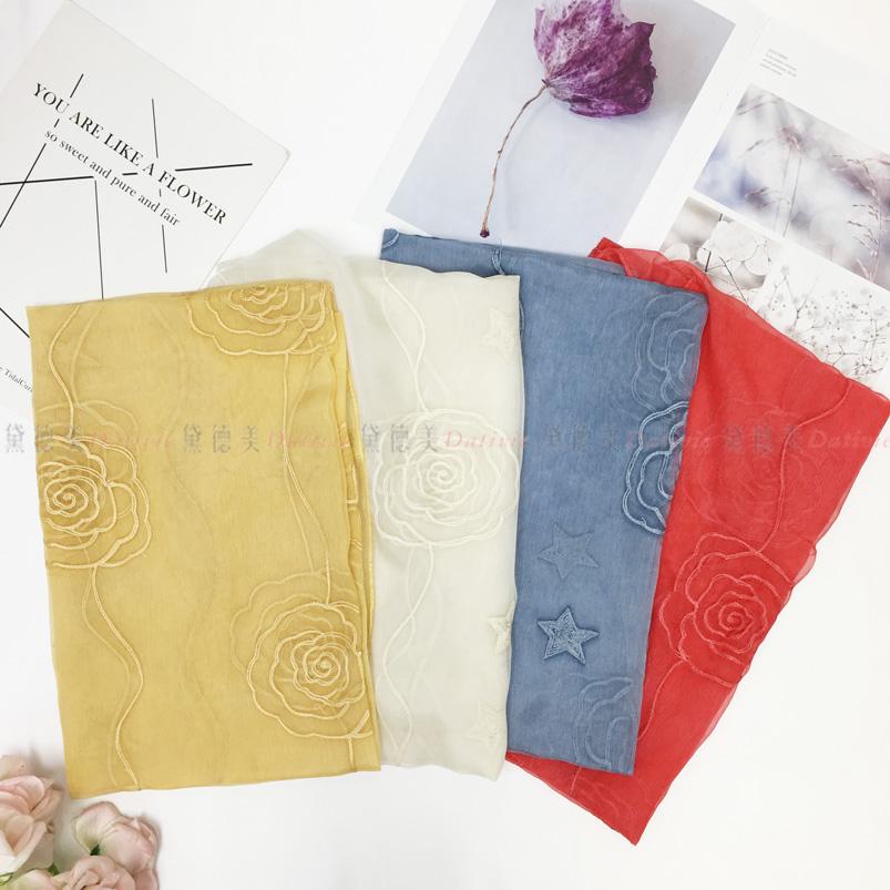 圍巾 薔葳 薄圍巾 保暖 秋冬 紗 刺繡 四款