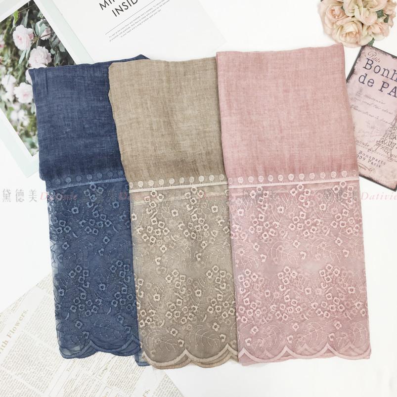 圍巾 薄圍巾 保暖 秋冬 紗 仿蕾絲 繡花收邊 花邊 刺繡 三款