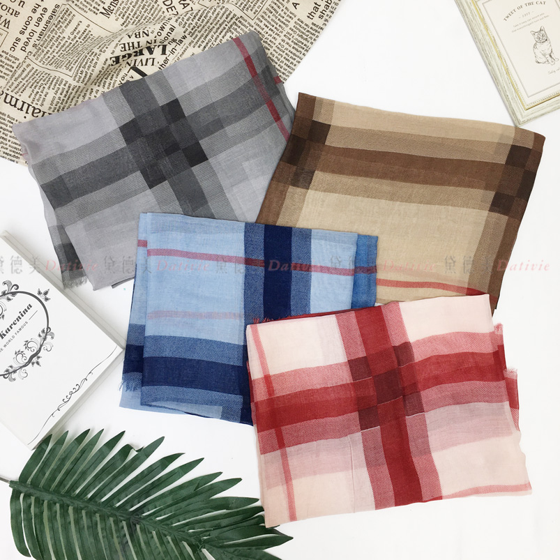 圍巾 薄圍巾 格紋 雙色 經典款 不收邊 保暖 秋冬 四款