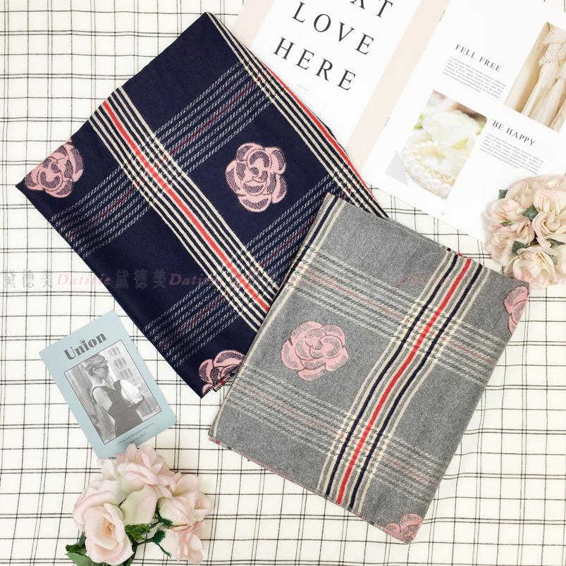 圍巾 玫瑰 線條 大格紋 撞色 不收邊 親膚圍巾 厚圍巾 保暖 兩款選
