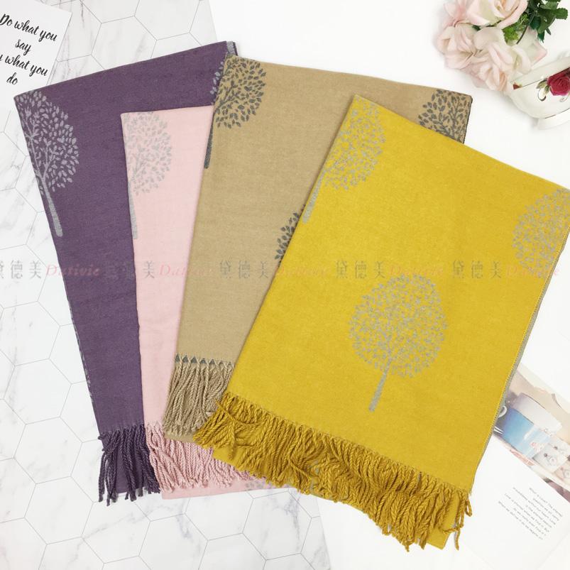 圍巾 大樹 印花 簡約 流蘇 親膚圍巾 厚圍巾 保暖 四款選