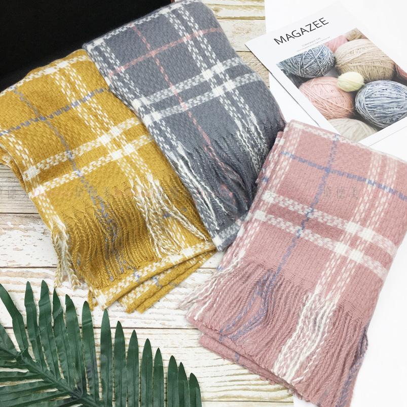 圍巾 格紋 經典 流蘇 親膚圍巾 厚圍巾 保暖 三款選