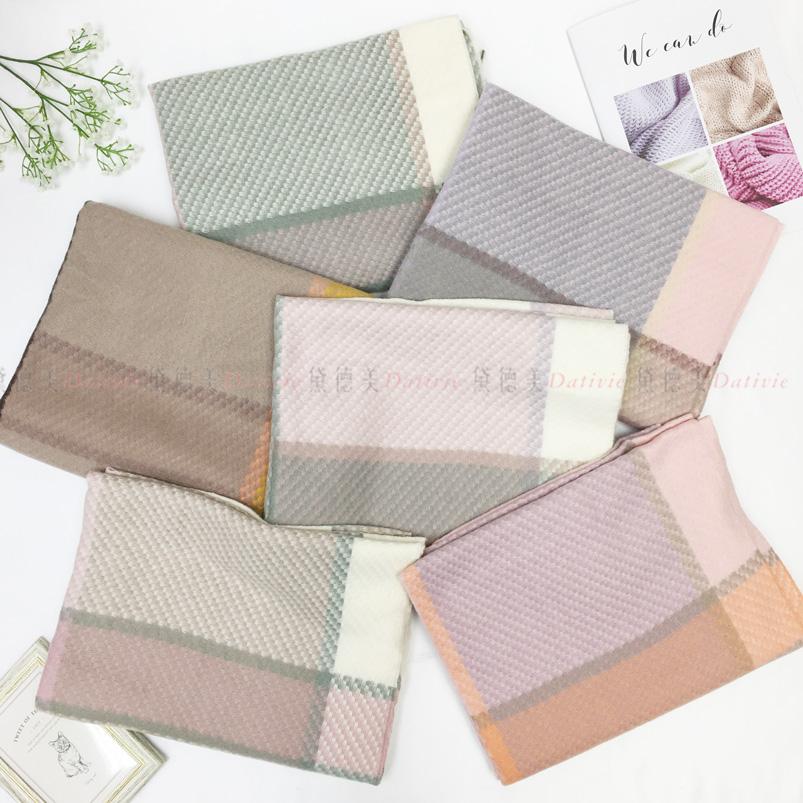 圍巾 大格紋 撞色 雙色混搭 質感皮格標 經典流蘇 親膚圍巾 厚圍巾 保暖 六款選