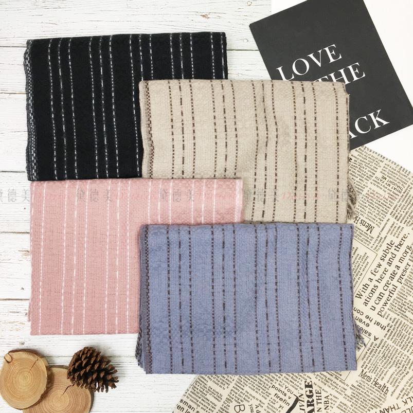 圍巾 線條 虛線簡約 流蘇 親膚圍巾 厚圍巾 保暖 四款選