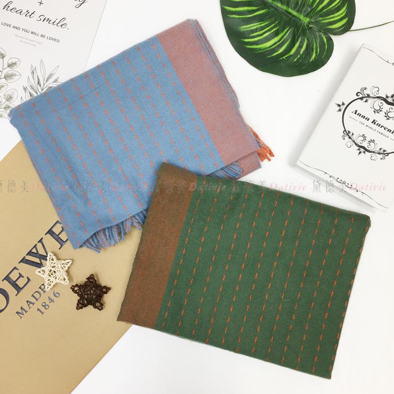 圍巾 線條 撞色 雙色 簡約 虛線 流蘇 親膚圍巾 厚圍巾 保暖 兩款選