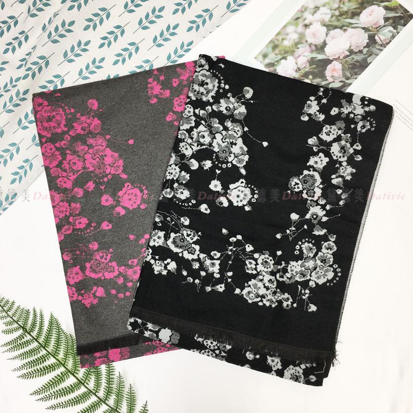 圍巾 渲染 花 保暖 秋冬 親膚 厚圍巾 兩款