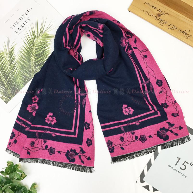 圍巾 纏繞 攀沿 花朵 保暖 秋冬 親膚 厚圍巾