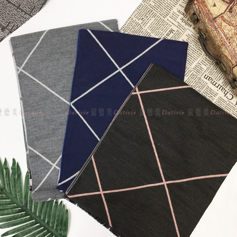 圍巾 線條 簡約 大方格 保暖 秋冬 親膚 厚圍巾 三款