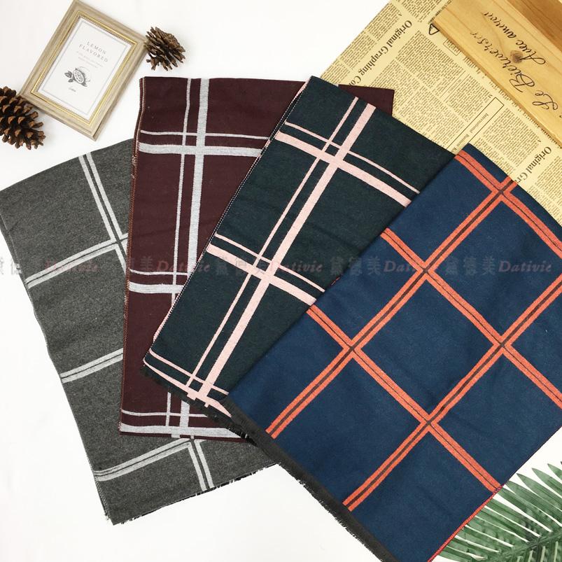 圍巾 雙線 經典 方格紋 保暖 秋冬 親膚 厚圍巾 四款