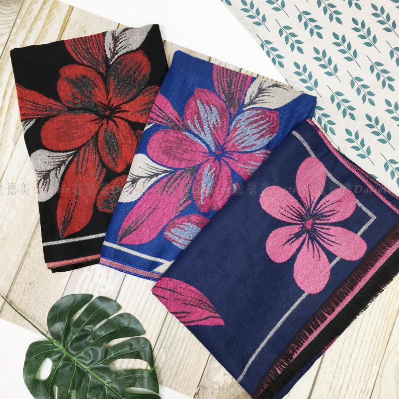 圍巾 花 印花 保暖 秋冬 親膚 厚圍巾 三款