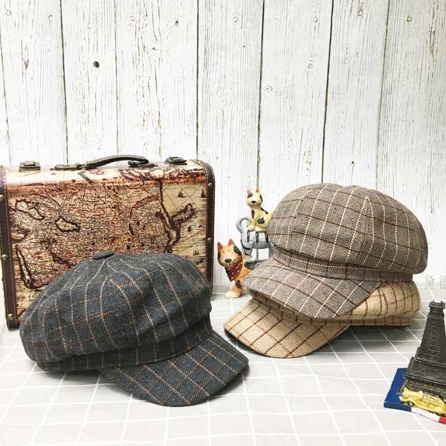 報童帽 英倫風 格子 三色 秋冬 帽子