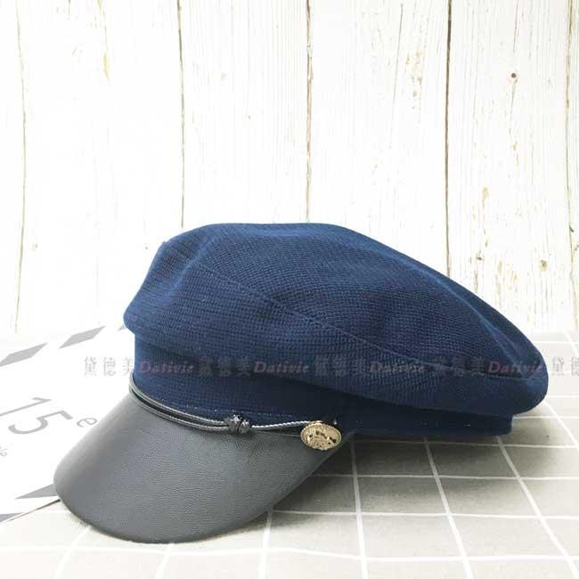 軍帽 金屬徽章裝飾 藏青藍 帥氣百搭 秋冬 帽子