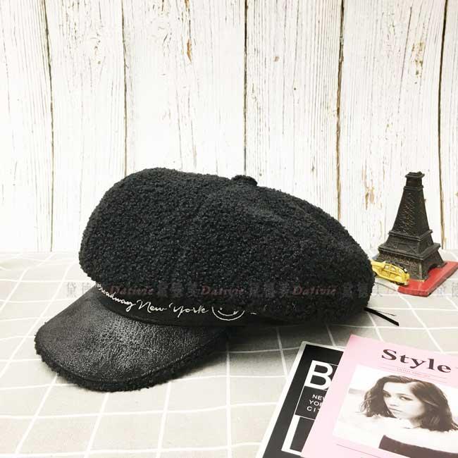 貝蕾帽 泰迪熊 羔羊圈 黑色 字母 笑臉 秋冬 帽子