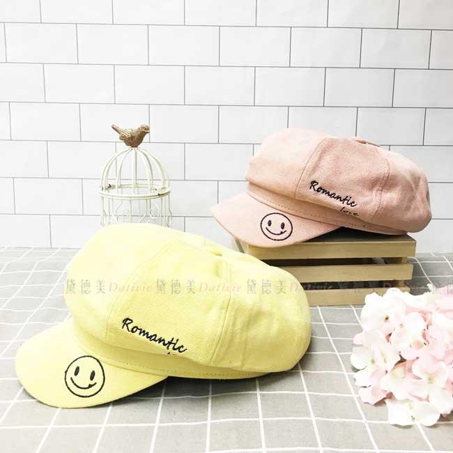 貝蕾帽 英文字母 笑臉 表情符號 秋冬 帽子
