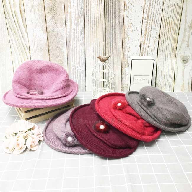 兔毛 毛料鐘形帽 多色選 復古 英倫風 針織 毛球 珍珠 秋冬 帽子