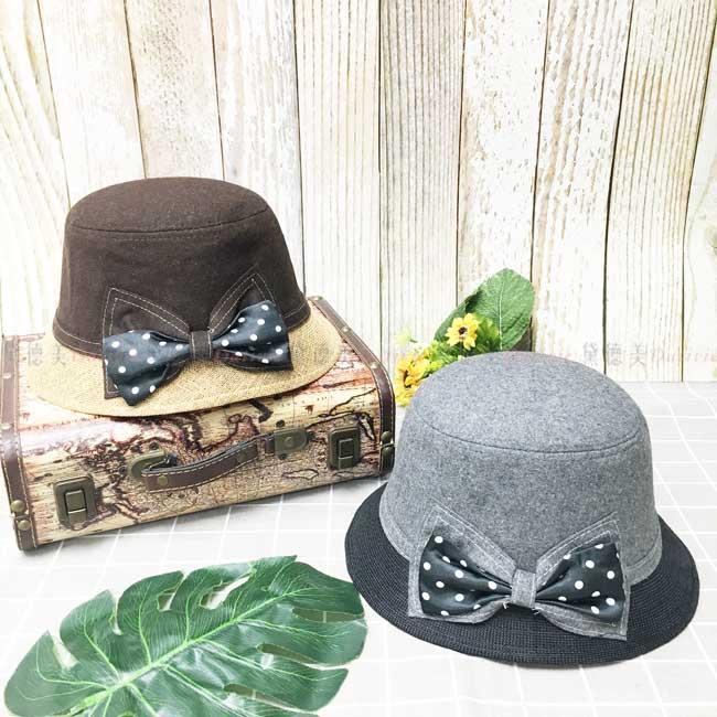 漁夫帽 拚色 盆帽 雙層蝴蝶結 點點 秋冬 遮臉 帽子
