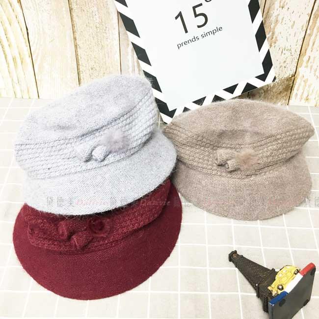 毛料鐘形帽 英倫風 三色 毛球裝飾 牛角 秋冬 帽子
