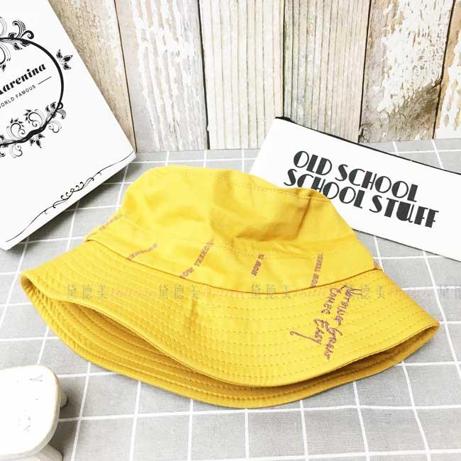 漁夫帽 盆帽 葁黃色 英文字母 遮臉 帽子