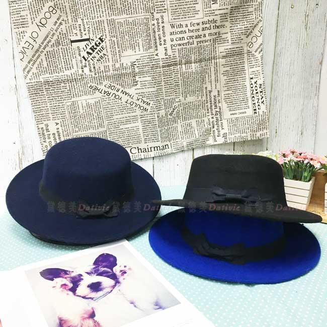 禮帽 毛氈帽 寶藍色 藏青藍 黑色 蝴蝶結 秋冬 帽子