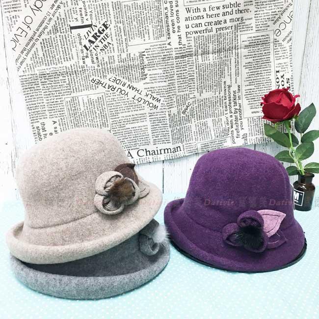 台灣製 羊毛 英倫風 花朵 毛球 淑女帽 毛帽 保暖 成人帽