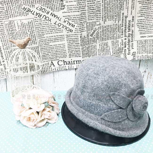 台灣製 羊毛 優雅女士 灰色 玫瑰花 秋冬 帽子