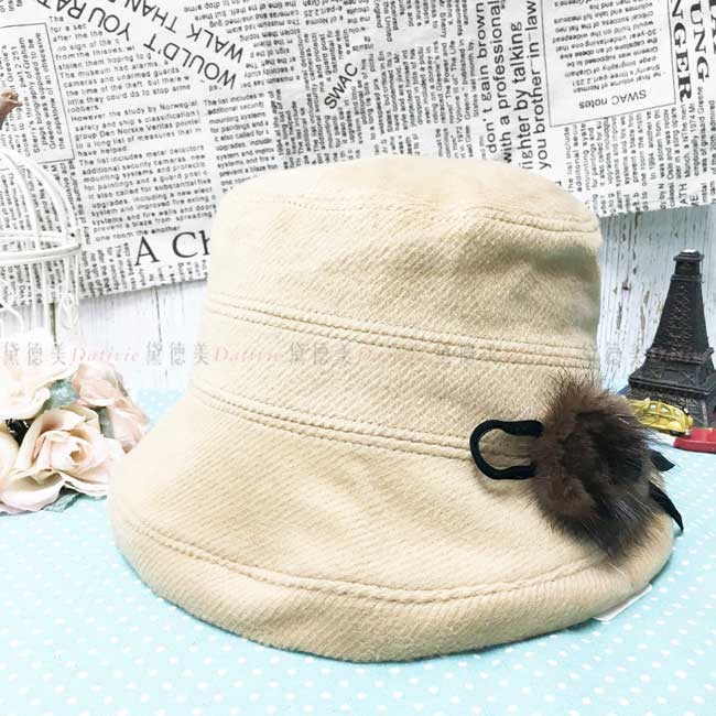 漁夫帽 盆帽 卡其色 毛毛裝飾 蝴蝶結 秋冬 遮臉 帽子