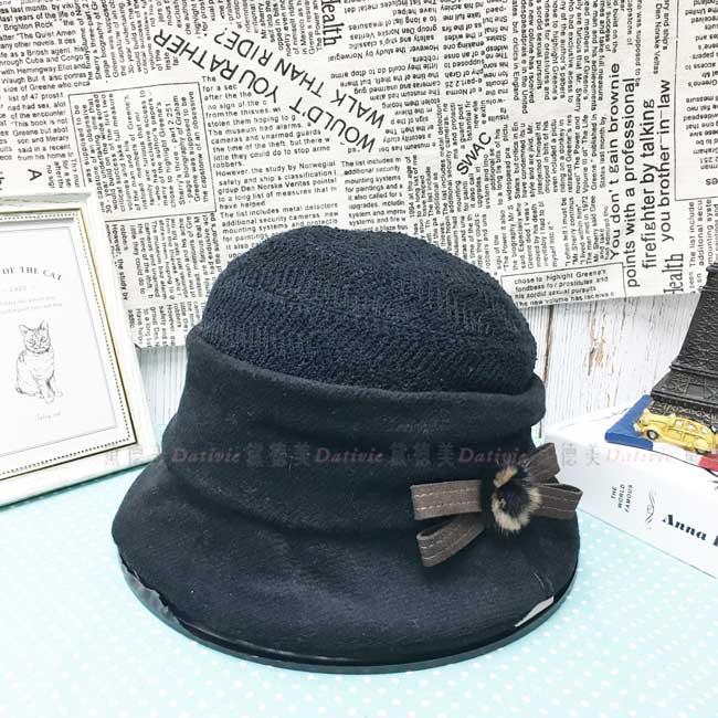 漁夫帽 盆帽 黑色 毛毛裝飾 蝴蝶結 秋冬 優雅 遮臉 帽子