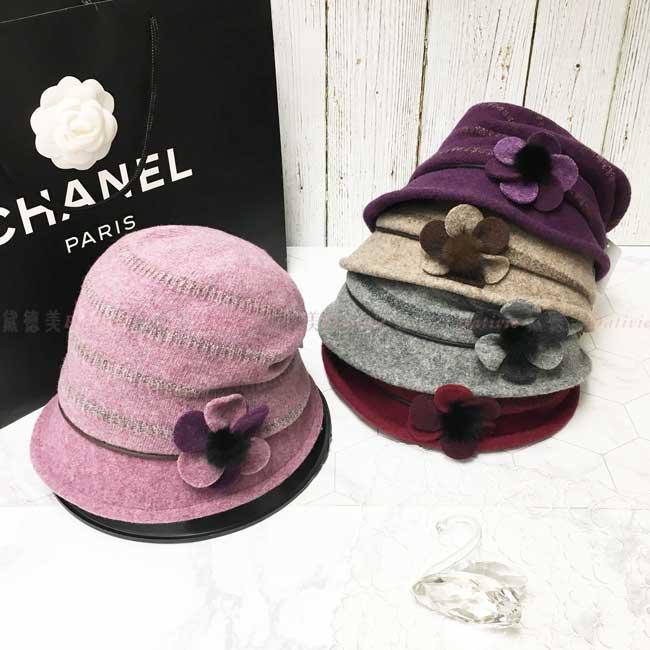 台灣製 羊毛 英倫風 條紋 花朵 毛球 皮繩 淑女帽 毛帽 保暖 成人帽