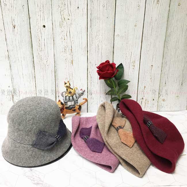 台灣製 純羊毛 英倫風 亮鑽蝴蝶結 素面 淑女帽 毛帽 保暖 圓頂 成人帽