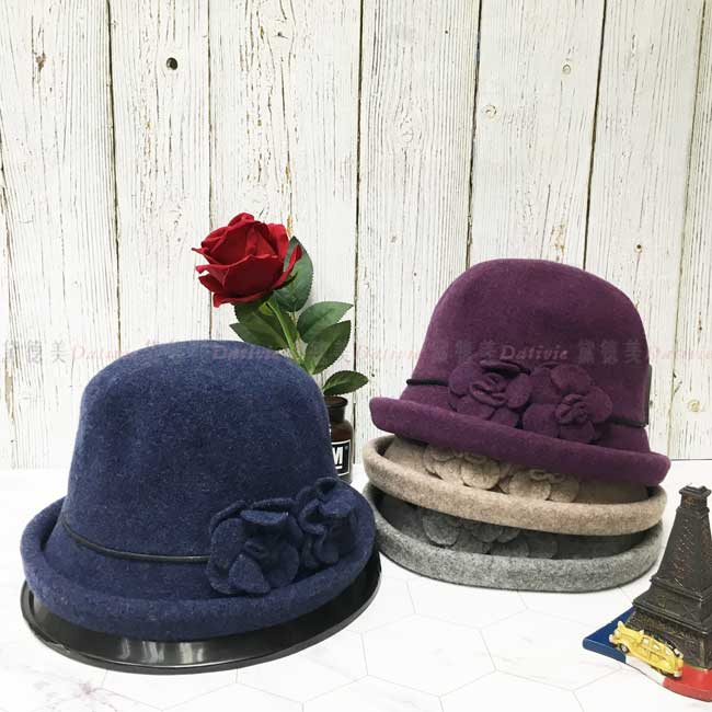 台灣製 羊毛 英倫風 雙朵玫瑰 皮革綁帶 素面 淑女帽 毛帽 保暖 圓頂 成人帽