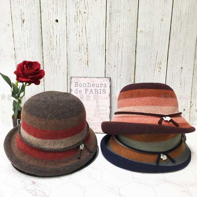 台灣製 羊毛 英倫風 小兔子 綁帶 漸層 淑女帽 毛帽 保暖 圓頂 成人帽