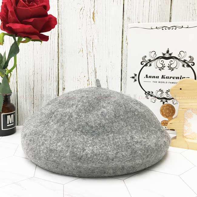 台灣製畫家帽 南瓜帽 日系 羊毛 灰色 帽子